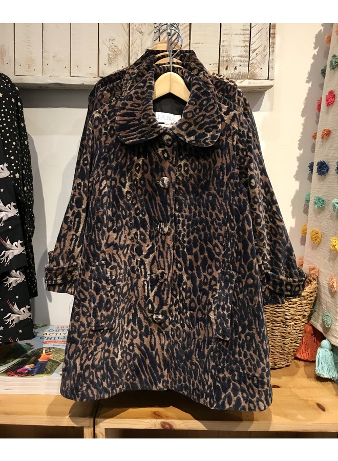 Jaba Kids Velvet Coat in Leopard