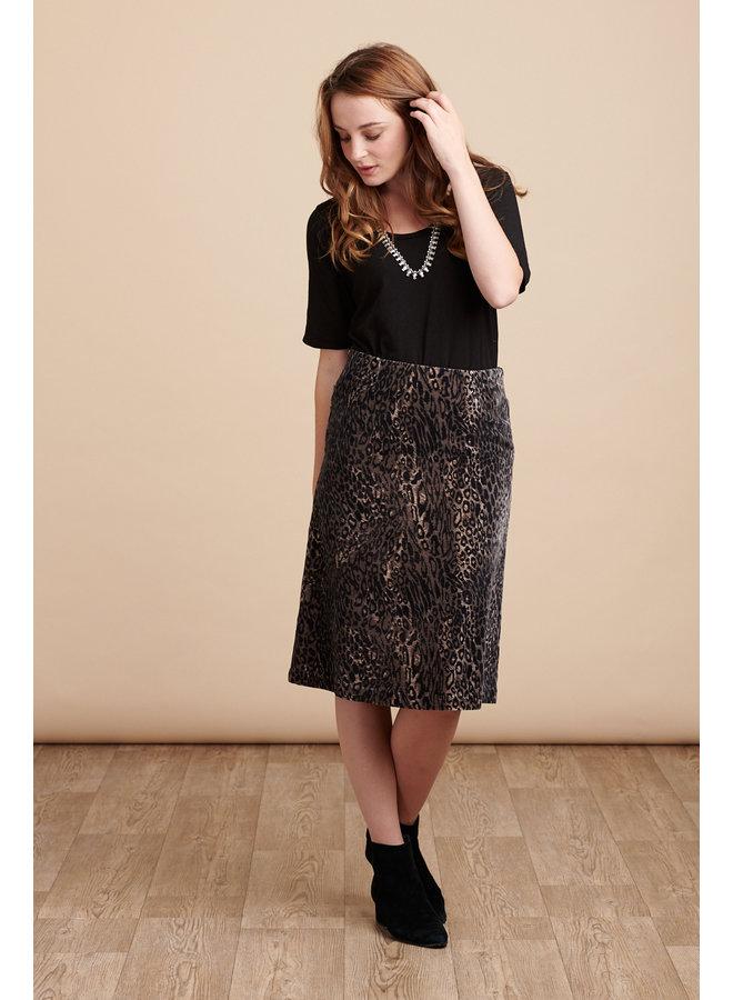 Jaba Lauren Skirt in Leopard Print