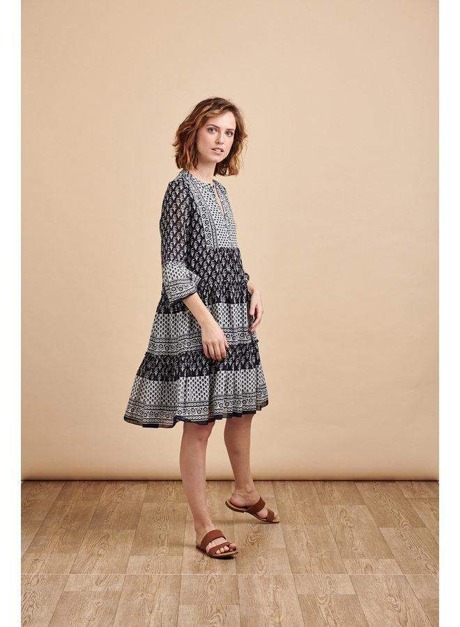 Luna Tiered Dress in Block Print
