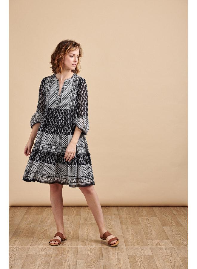 Luna Tiered Smock Dress in Block Print