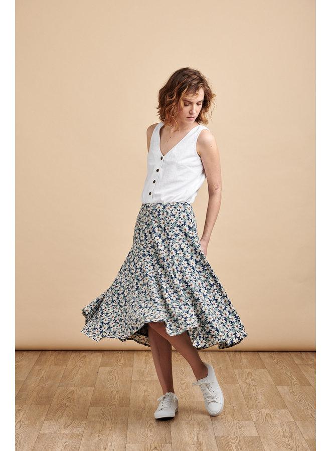 Florence Midi Skirt in Blue Daisy