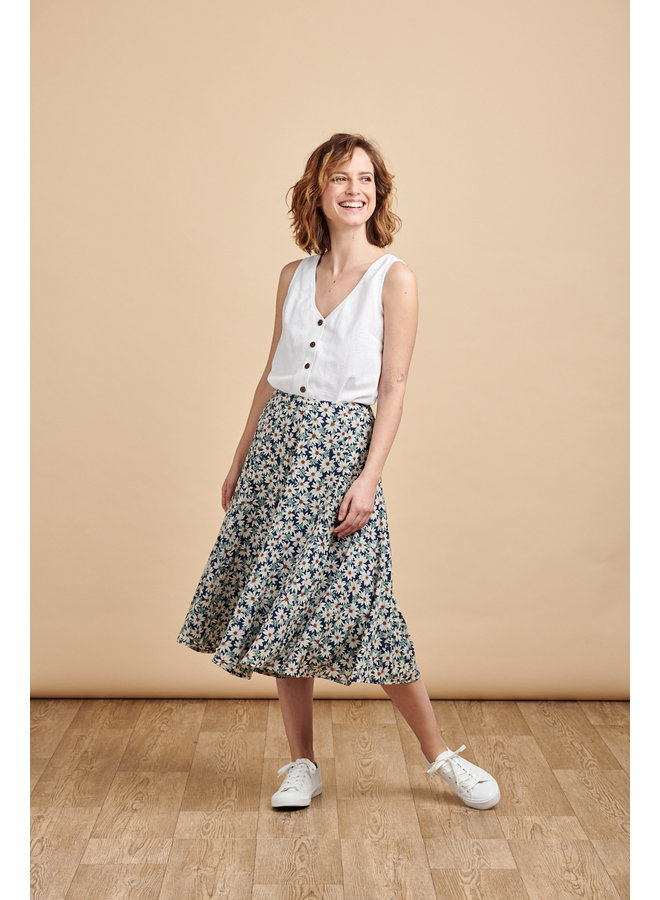 Florence Skirt in Blue Daisy
