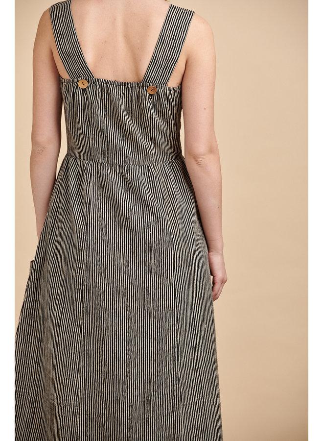 Penelope Sun Dress in Coffee Stripes