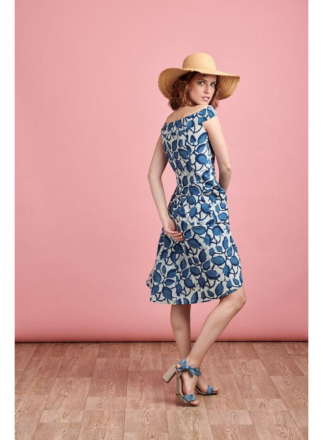 Lydia Dress in Blue Bean