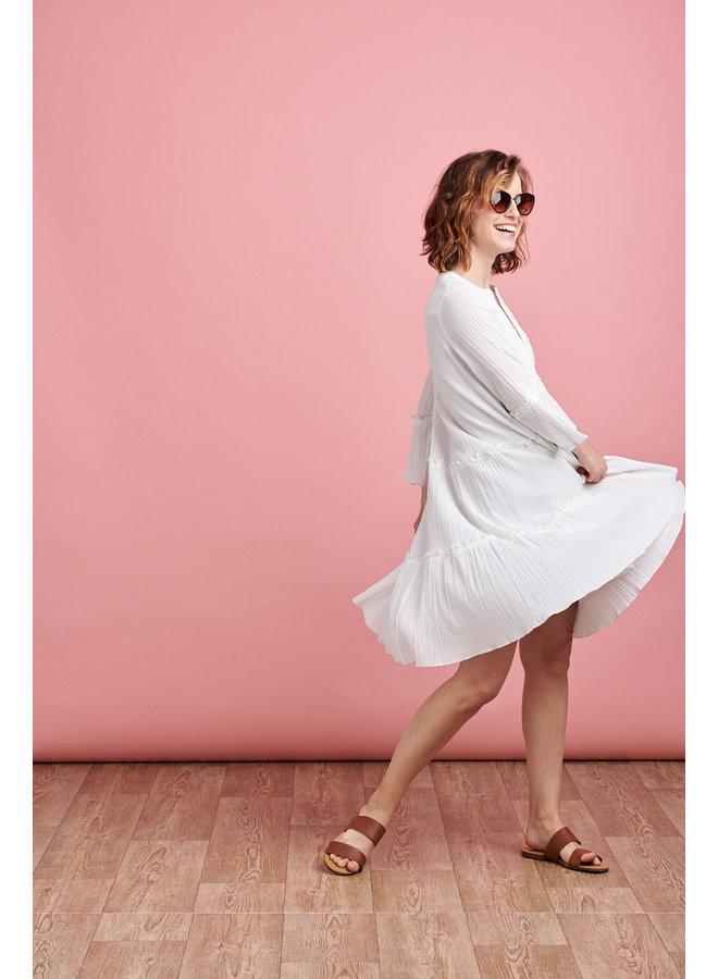 Luna Tiered Smock Dress in White