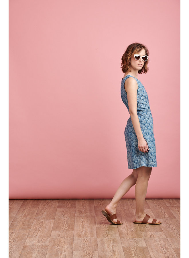 Nicole Dress in Blue Shell