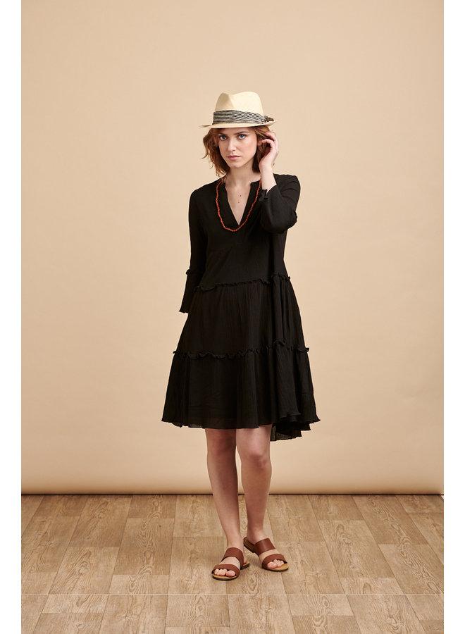 Luna Tiered Dress in Black