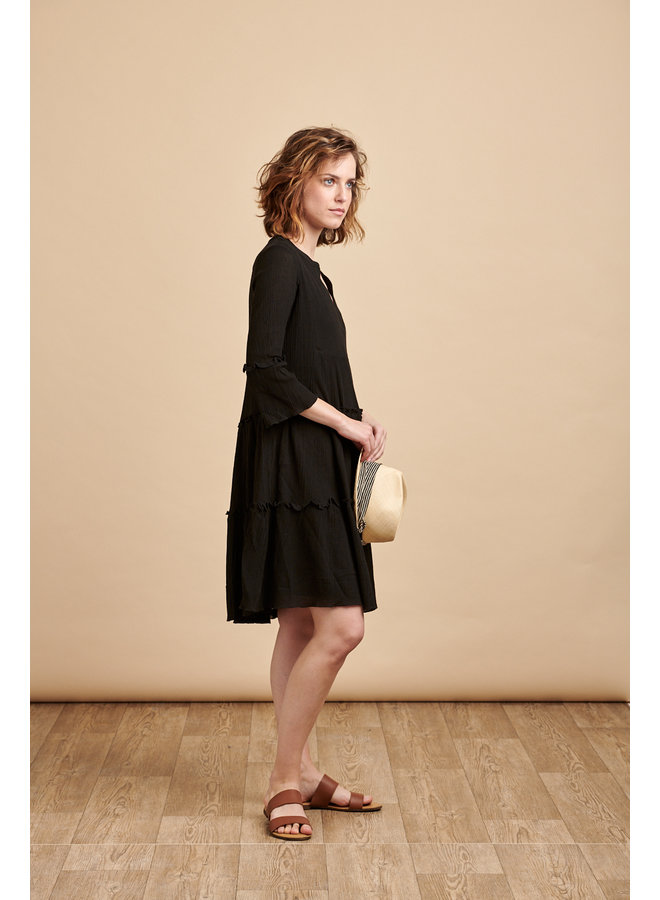 Luna Tiered Smock Dress in Black