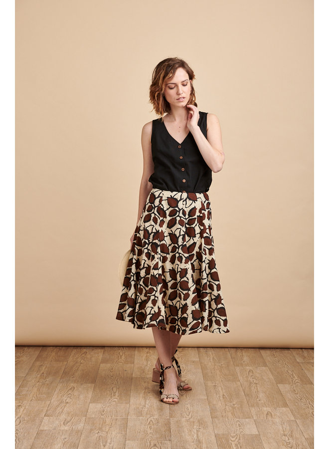 Florence Midi Skirt in Coffee Bean