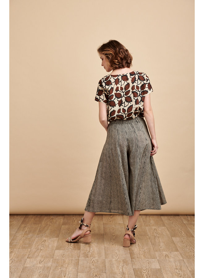 Iva Culottes in Coffee Stripes