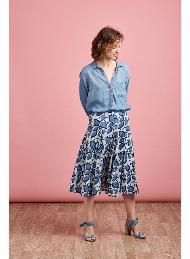 Florence Midi Skirt in Blue Bean