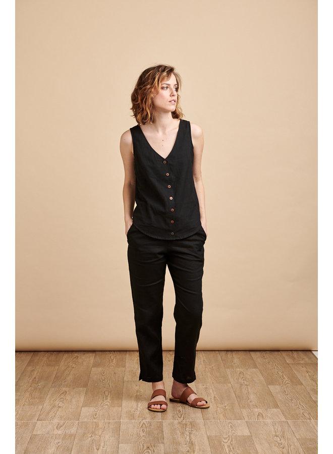 Lola Button Vest Top in Black