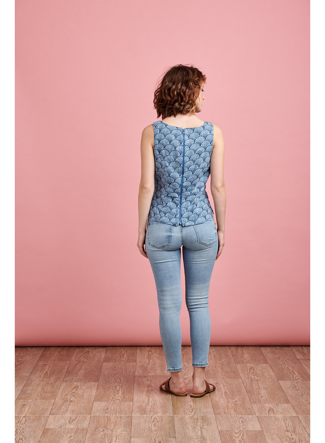 Leila Top in Blue Shell