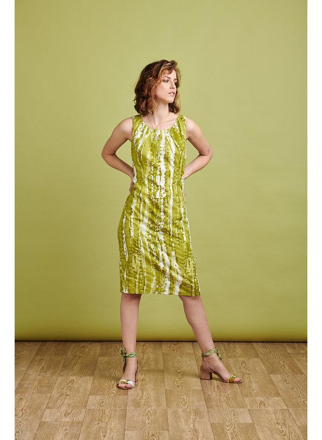 Emily Dress in  Lime Tie Dye