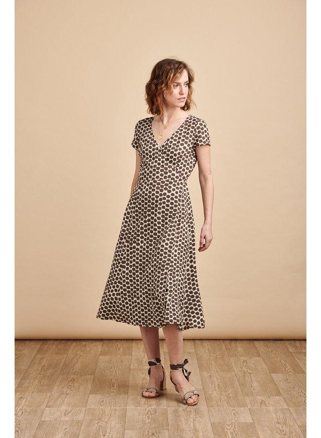 Ruby Wrap Midi Dress in Coffee Spots