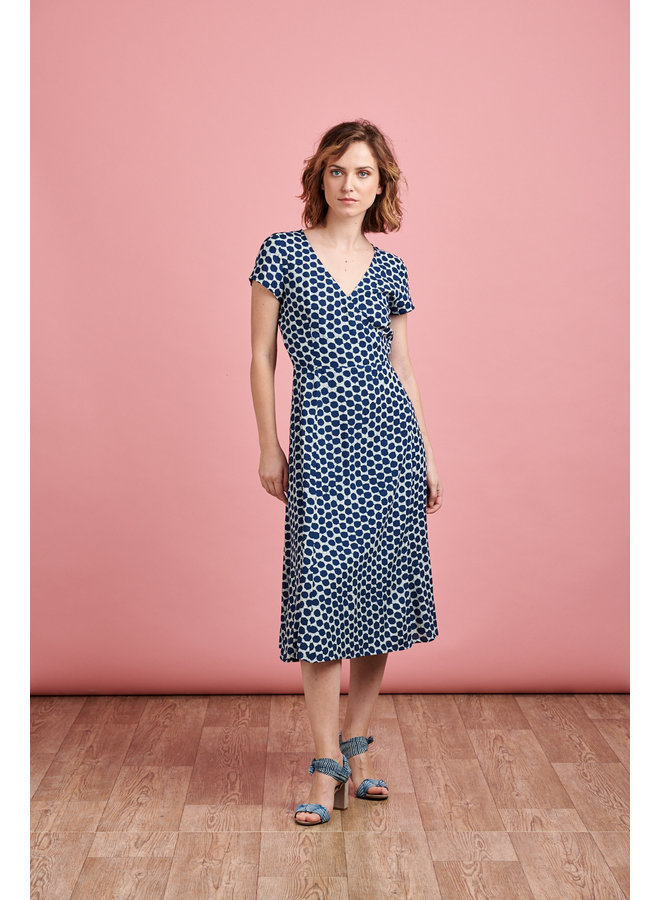 Ruby Wrap Midi Dress in Blue Spots