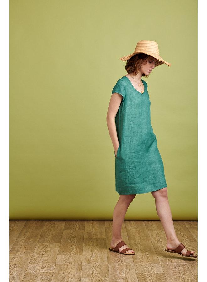 Emma Linen Dress in Teal
