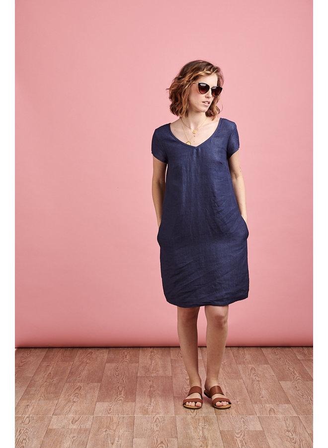 Emma Linen Dress in Blue