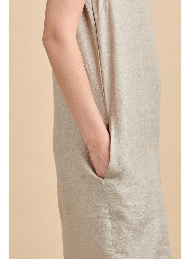 Emma Linen Dress in Natural