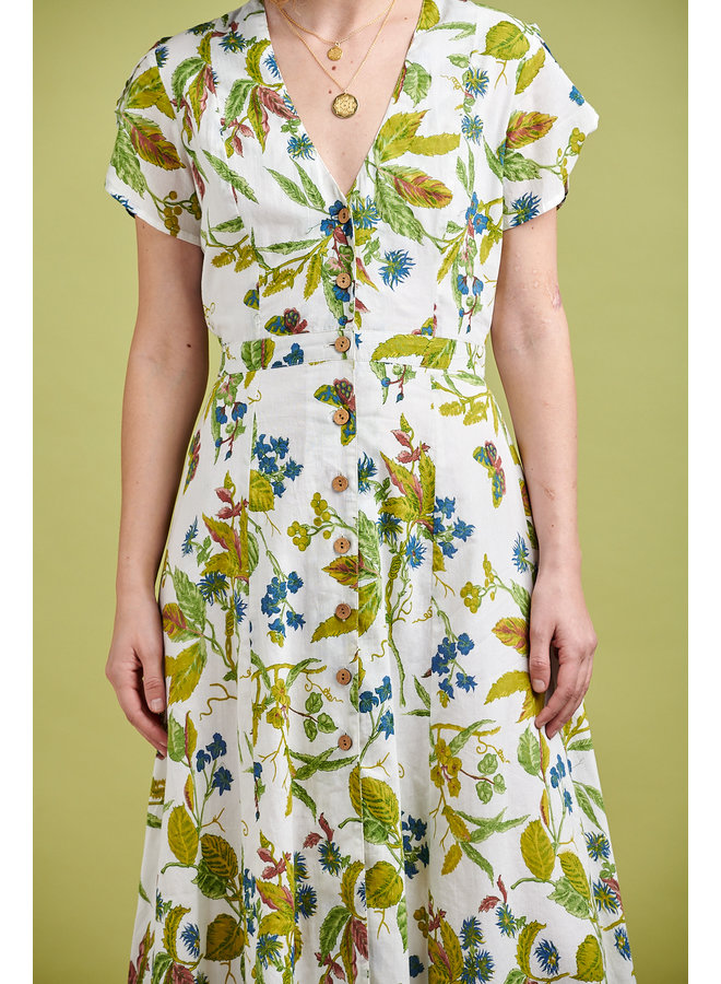 Willow Midi Dress in  Green Flowers
