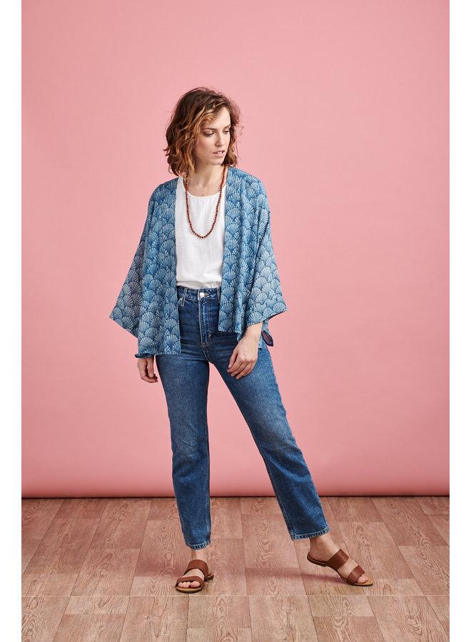 Short Kimono in Blue Shell