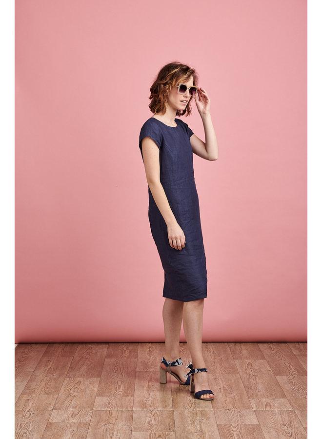 Camile Long Linen Dress in Blue