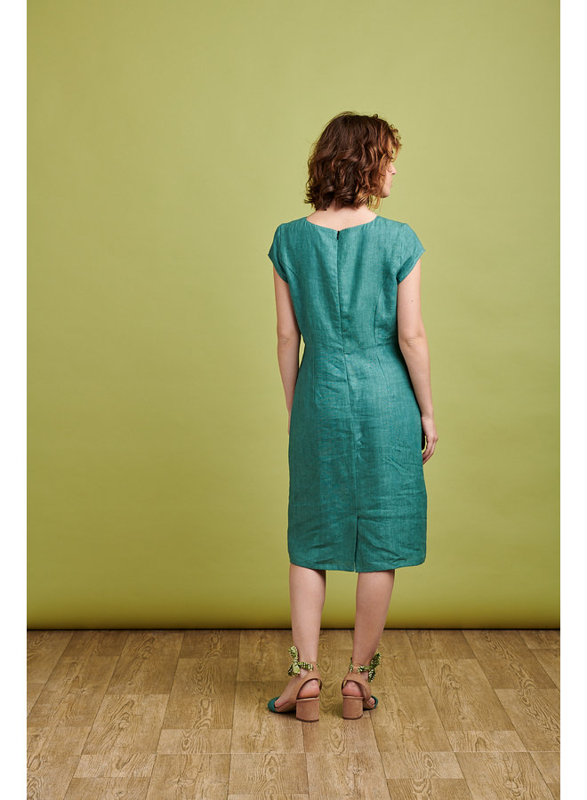 Camile Long Linen Dress in Teal