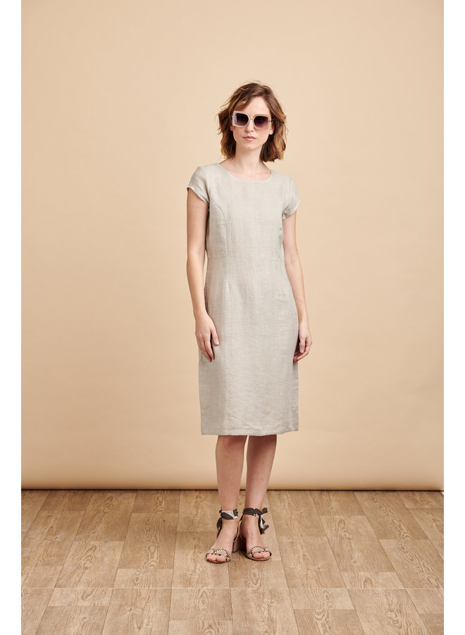 Camile Long Linen Dress in Natural