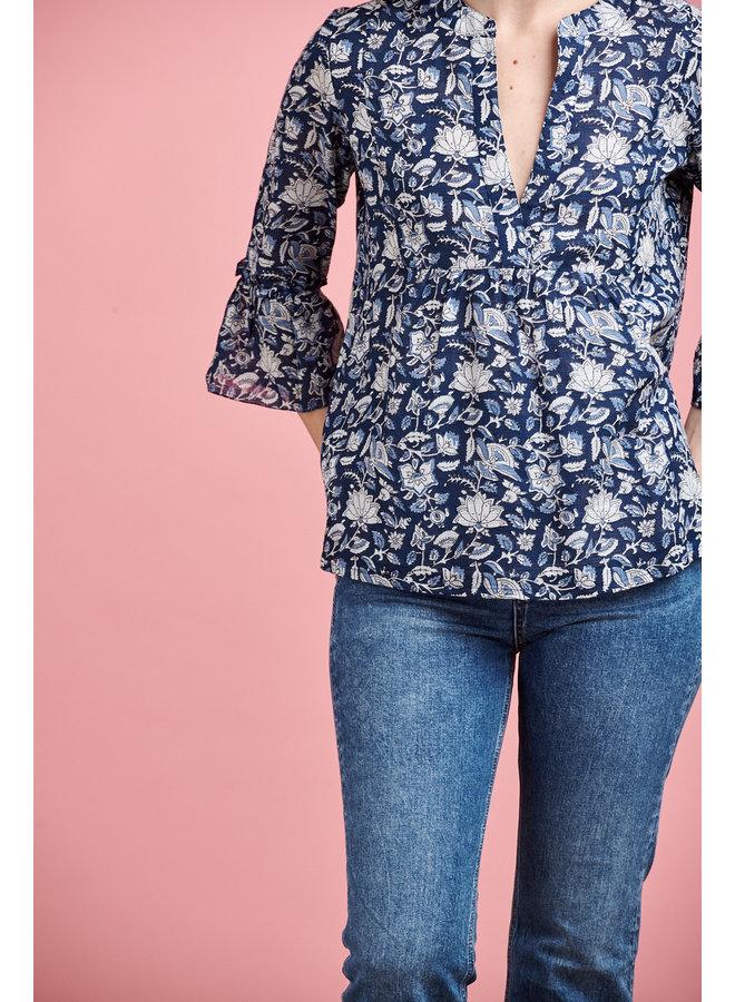 Alba Cotton Top in Blue