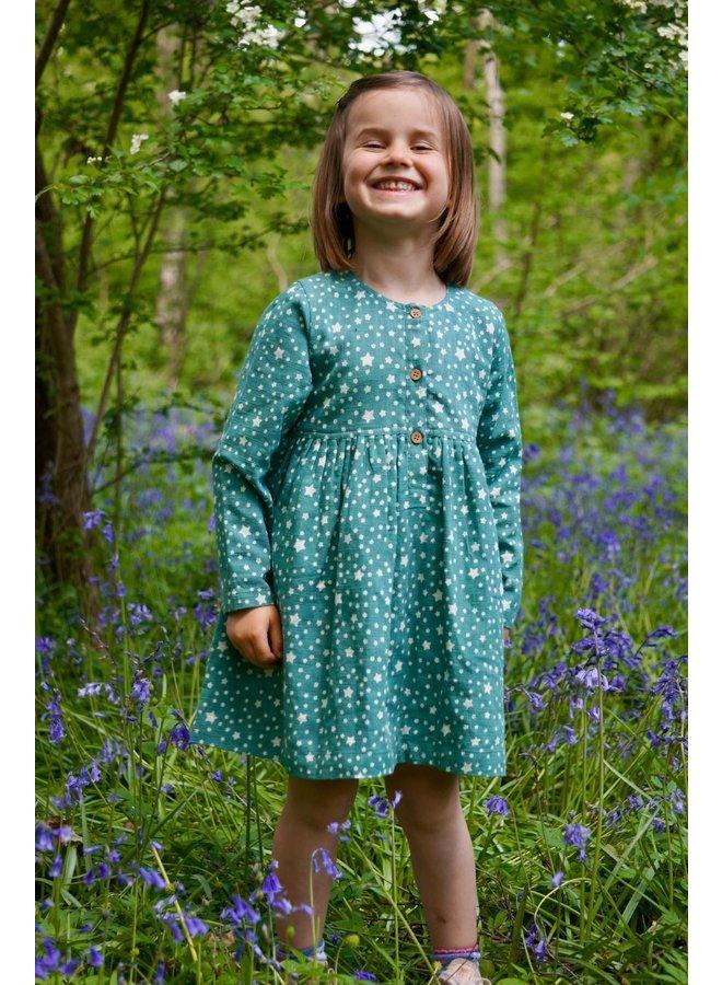 Tabitha Dress in Teal Stars