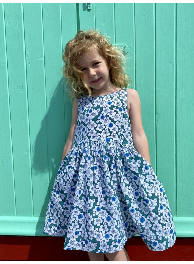 Lauren Dress in Green Flowers