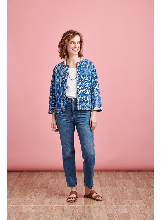 Reversible Hand Quilted Jacket in Blue Bean