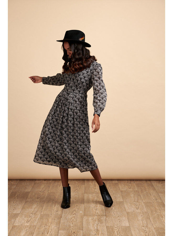 Jaba Cora Midi Dress in Black Shell