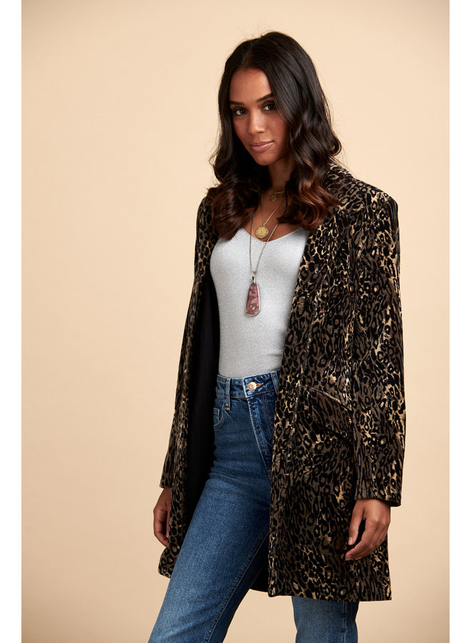Jaba Velvet Coat in Leopard