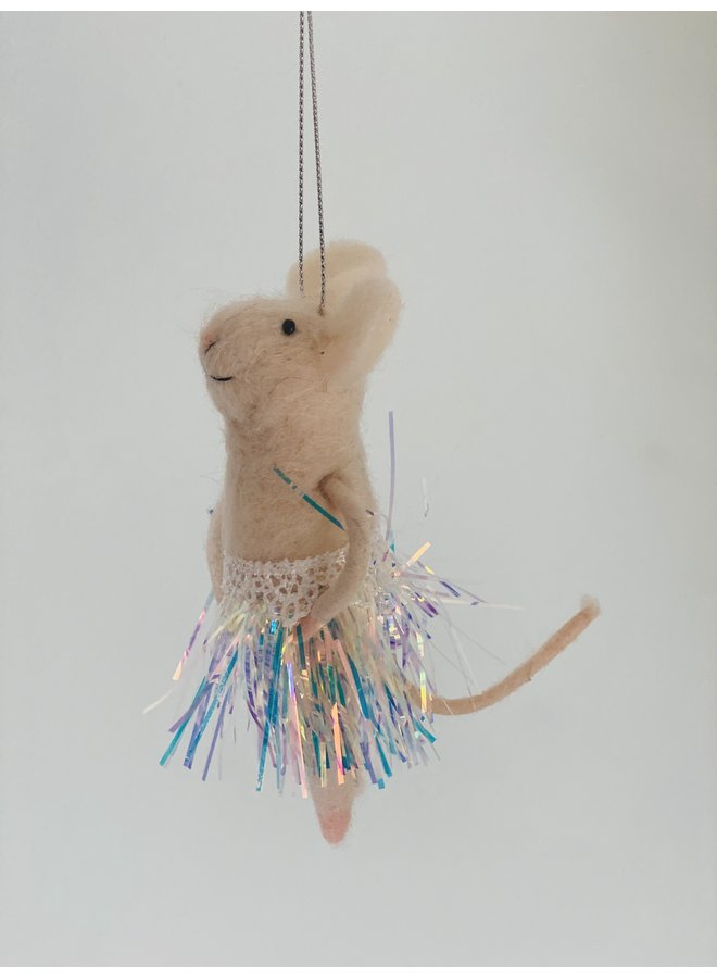 Fabric Mouse with Hula Skirt Decoration