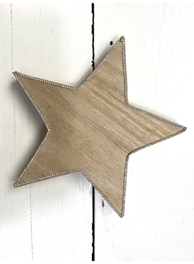 HS Wooden Star with Glitter
