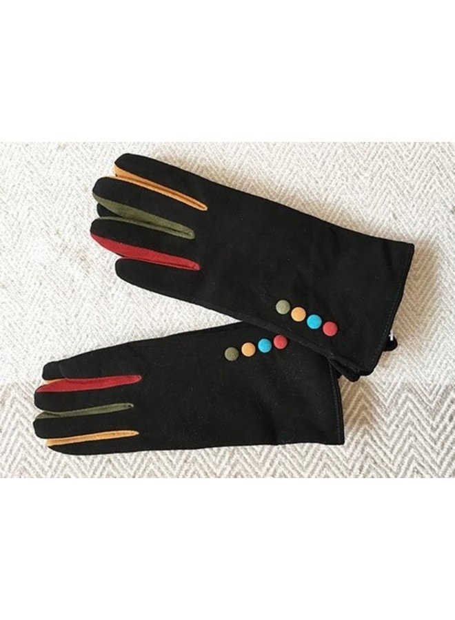 Multi/Button Suede Gloves
