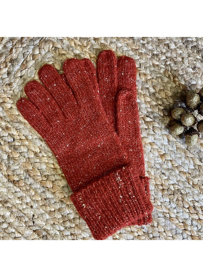 Knitted Glove with Gold Thread