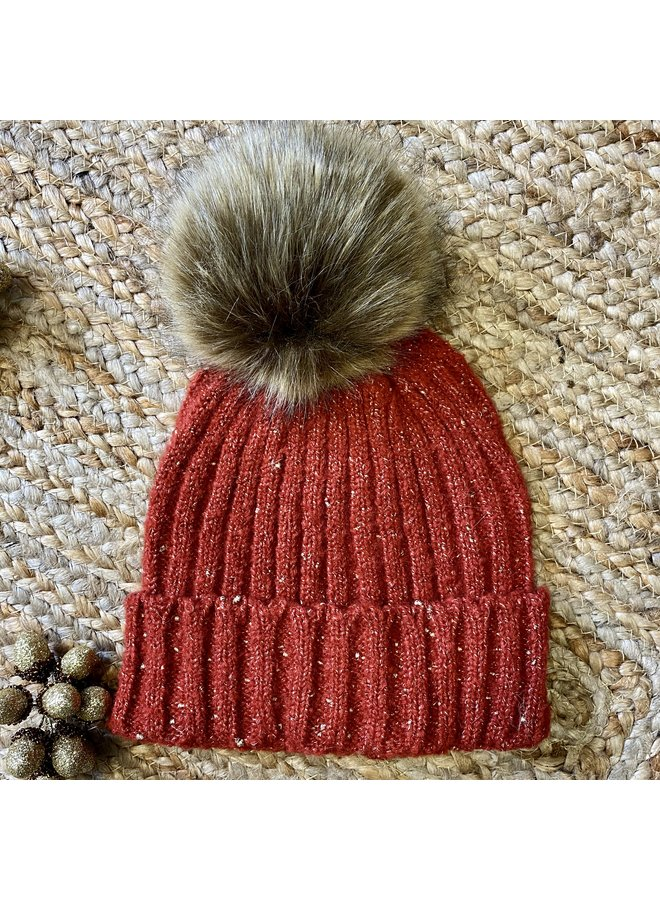 Knitted Hat with Gold Thread