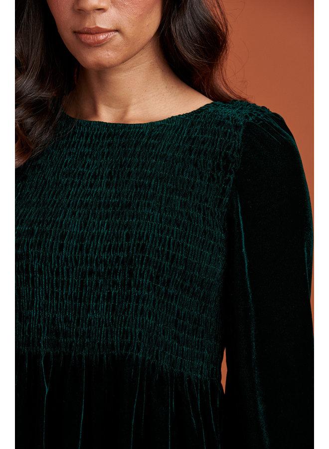 Jaba Ivy Velvet Dress in Emerald Green