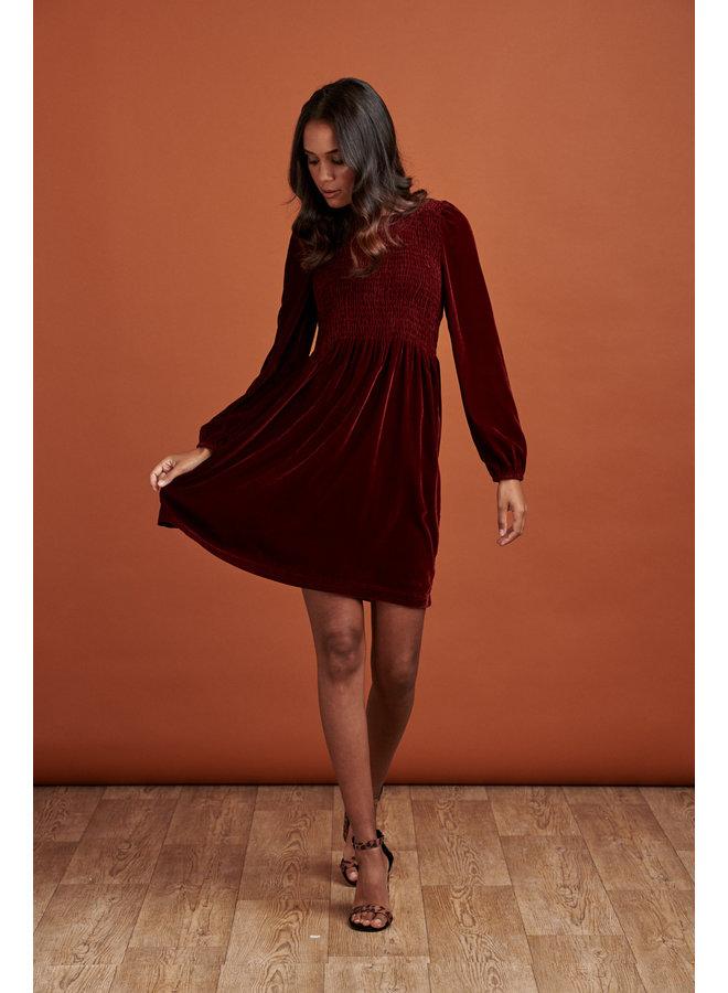 Jaba Ivy Velvet Dress in Ruby Red