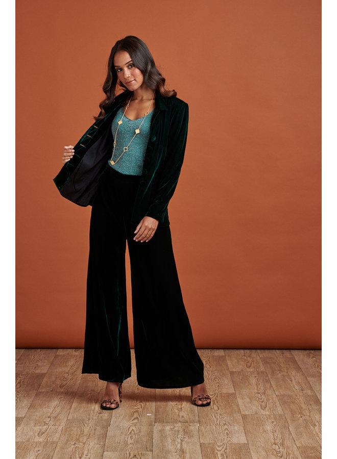 Jaba Elena Velvet Trousers in Emerald Green