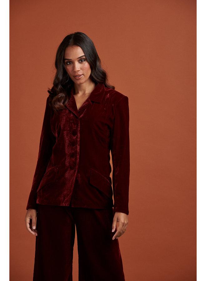 Jaba Velvet Jacket in Ruby Red