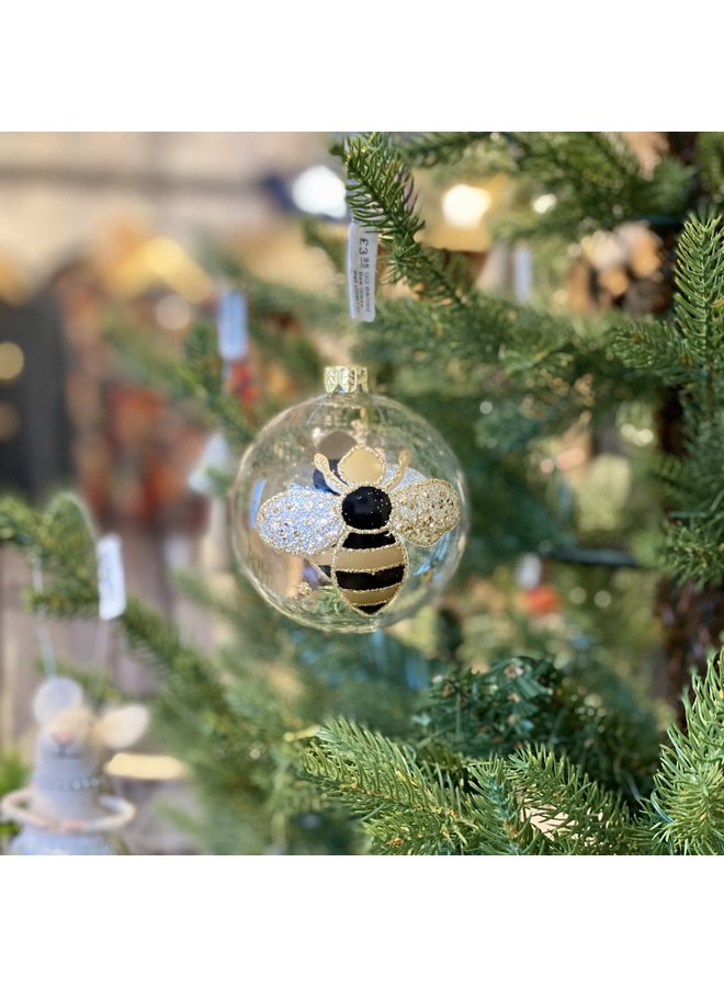 Black and Gold Bee Glass Ball
