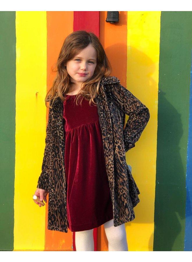 Jaba Kids Velvet Coat in Leopard