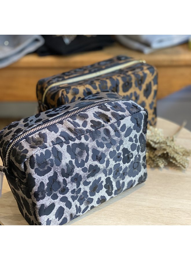 Silver Leopard Cosmetic Pouch