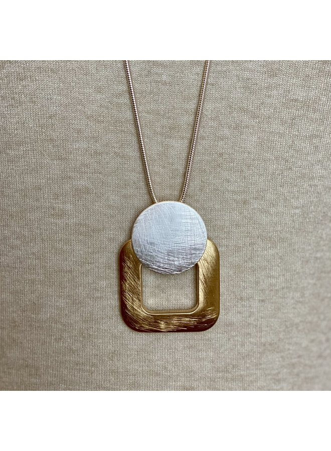 Brushed Gold Square Long Necklace