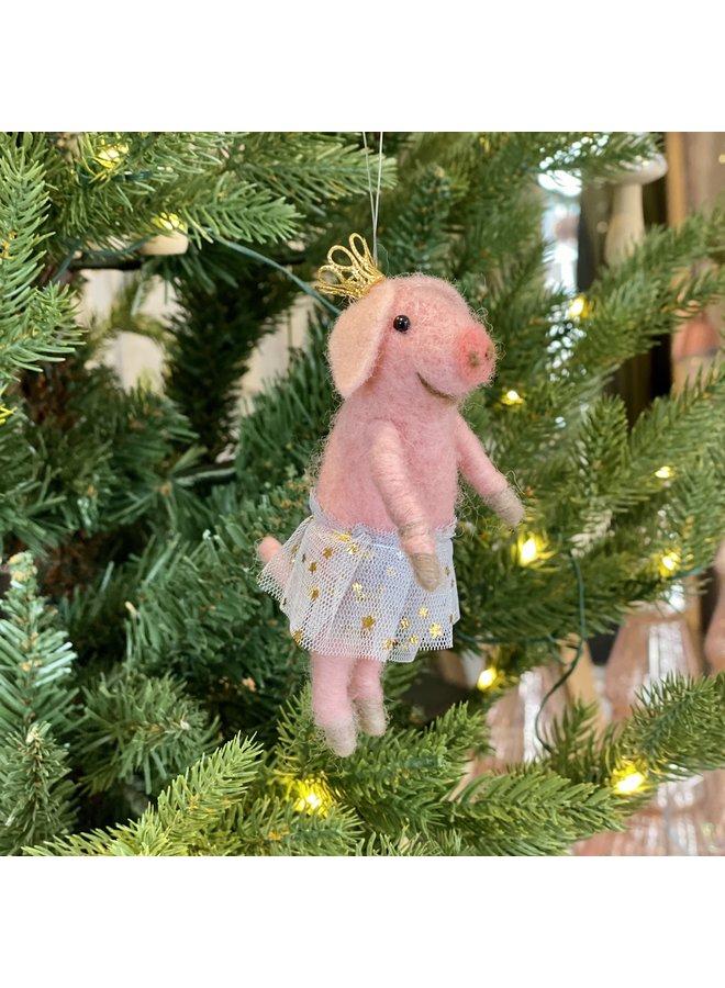 Wool Mix Ballerina Pig Decoration