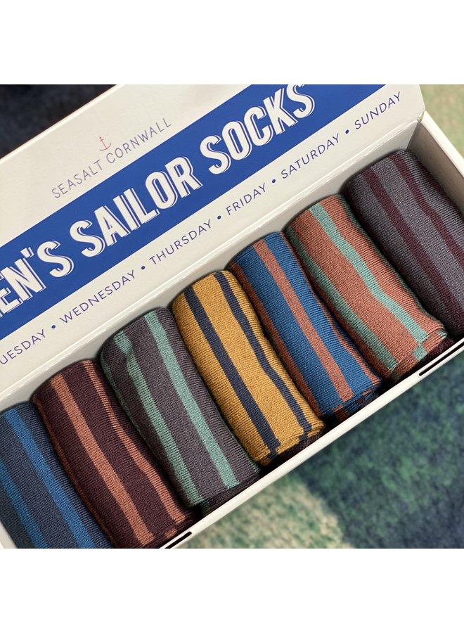 Seasalt Mens Box O'Socks - Pen Olver Mix