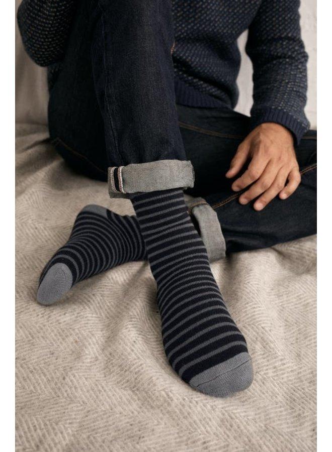Seasalt Men's Cabin Socks - Breton Black Coal
